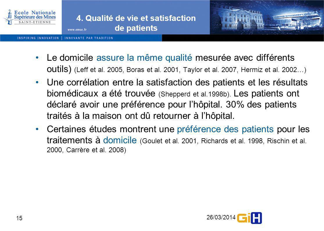 26/03/2014 15 4. Qualité de vie et satisfaction de patients Le domicile assure la même qualité mesurée avec différents outils) (Leff et al. 2005, Bora