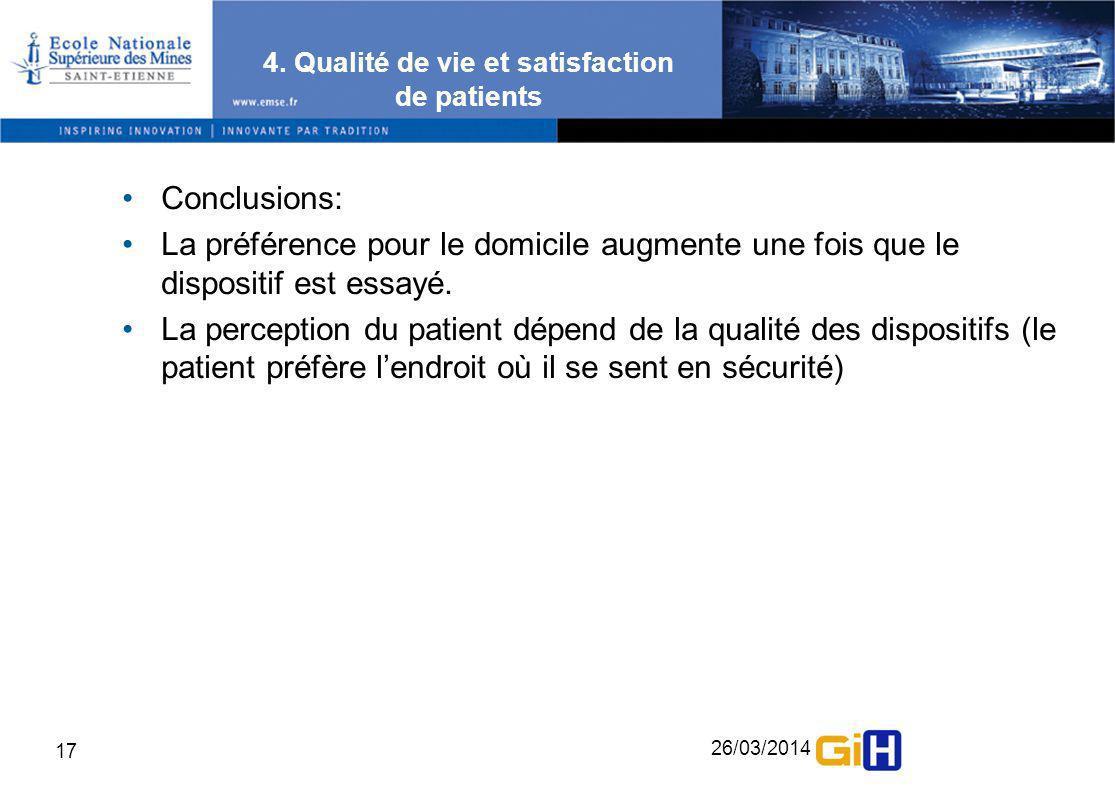 26/03/2014 17 4. Qualité de vie et satisfaction de patients Conclusions: La préférence pour le domicile augmente une fois que le dispositif est essayé