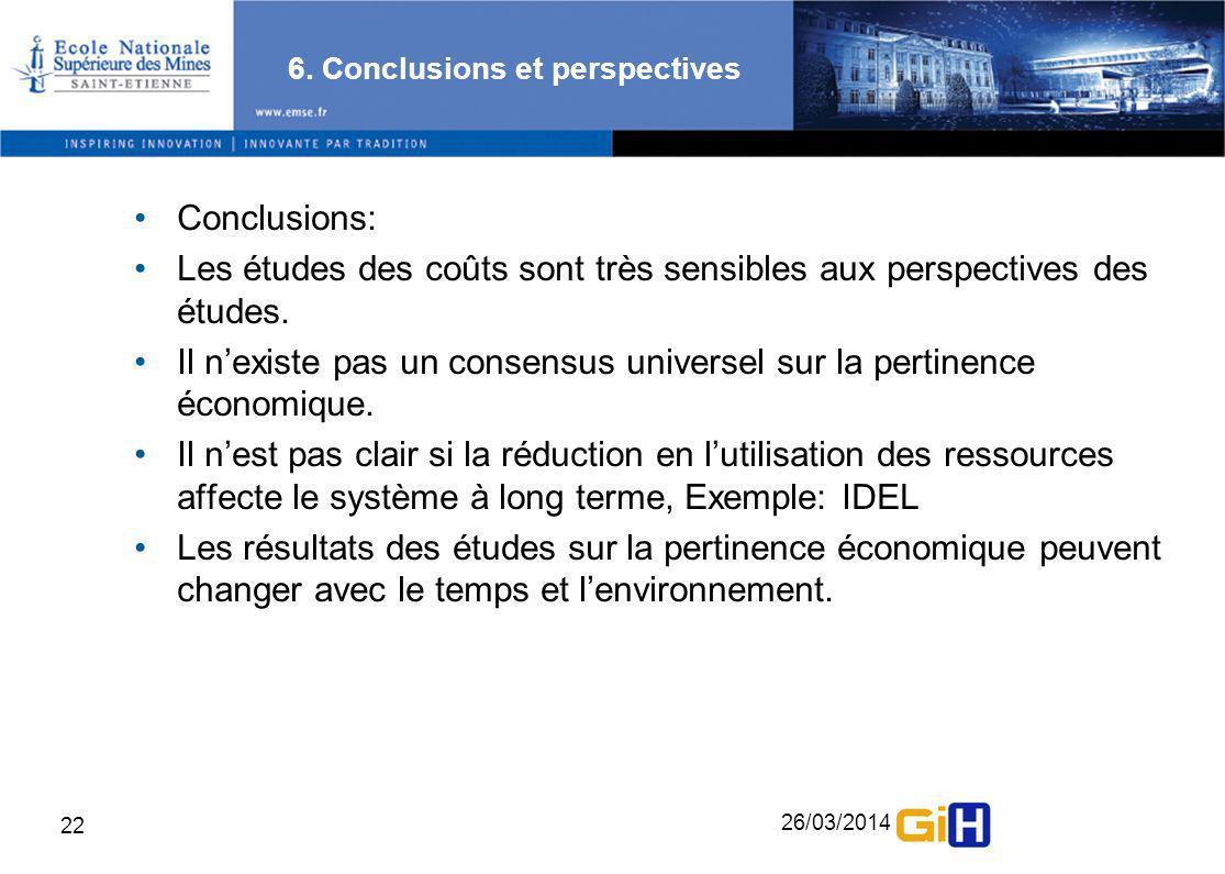 26/03/2014 22 6. Conclusions et perspectives Conclusions: Les études des coûts sont très sensibles aux perspectives des études. Il nexiste pas un cons