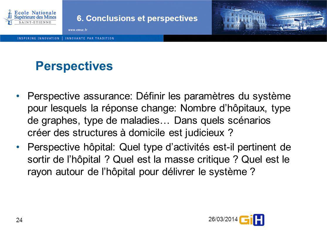 26/03/2014 24 6. Conclusions et perspectives Perspectives Perspective assurance: Définir les paramètres du système pour lesquels la réponse change: No
