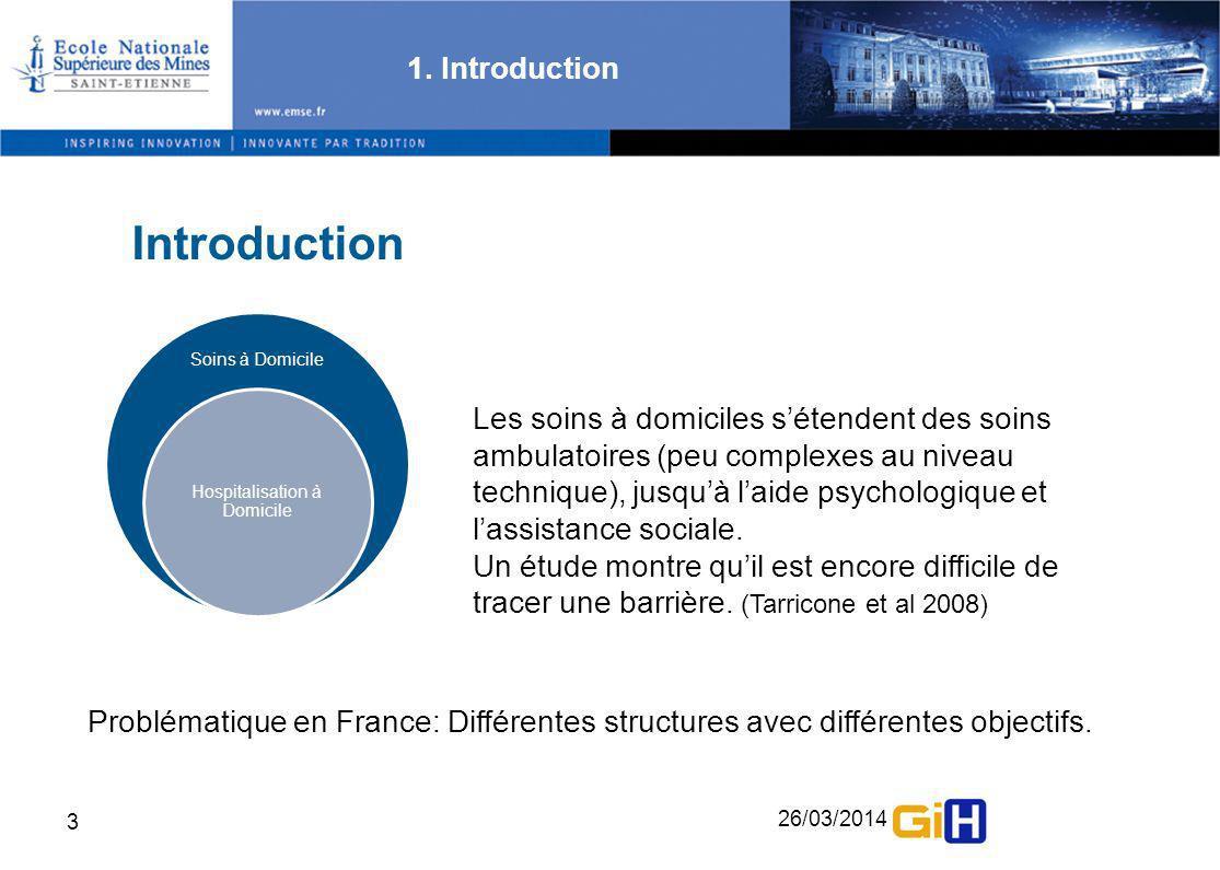 26/03/2014 3 Introduction 1. Introduction Soins à Domicile Hospitalisation à Domicile Problématique en France: Différentes structures avec différentes