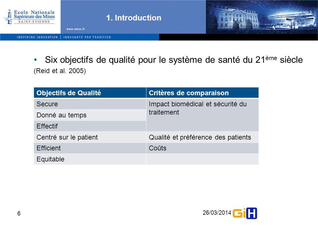 26/03/2014 6 1. Introduction Six objectifs de qualité pour le système de santé du 21 ème siècle (Reid et al. 2005) Objectifs de QualitéCritères de com