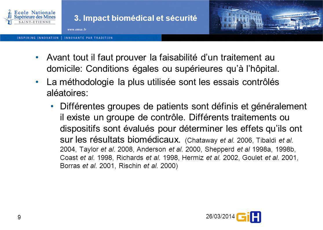 26/03/2014 9 3. Impact biomédical et sécurité Avant tout il faut prouver la faisabilité dun traitement au domicile: Conditions égales ou supérieures q