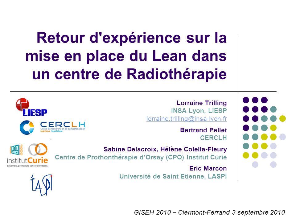 GISEH 2010 – Clermont-Ferrand 3 septembre 2010 Retour d'expérience sur la mise en place du Lean dans un centre de Radiothérapie Lorraine Trilling INSA
