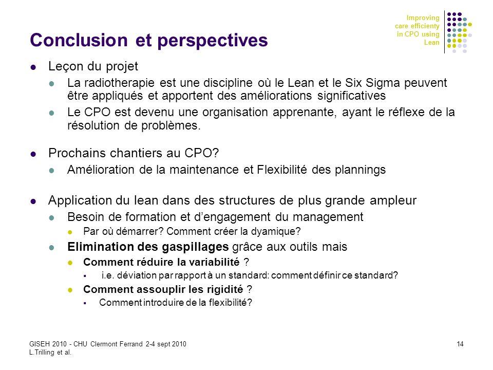 Improving care efficienty in CPO using Lean GISEH 2010 - CHU Clermont Ferrand 2-4 sept 2010 L.Trilling et al. 14 Conclusion et perspectives Leçon du p