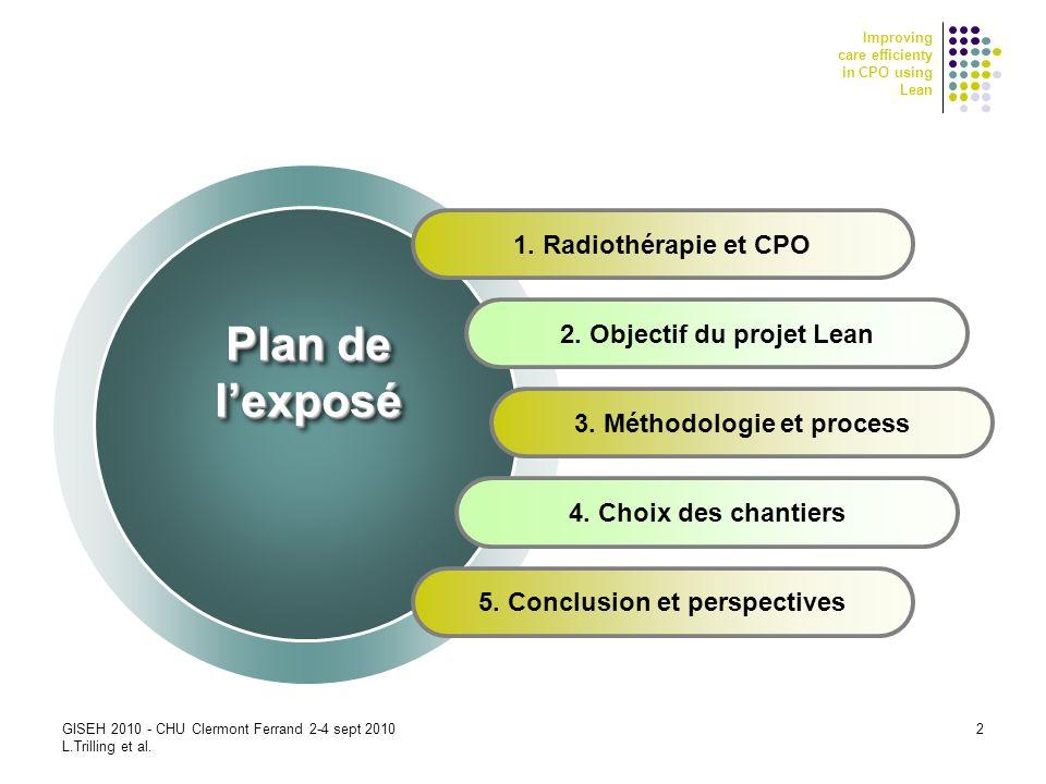 Improving care efficienty in CPO using Lean 2 1. Radiothérapie et CPO 2. Objectif du projet Lean 3. Méthodologie et process 4. Choix des chantiers 5.