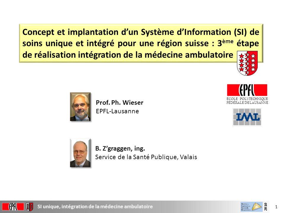 1 SI unique, intégration de la médecine ambulatoire 2010 Concept et implantation dun Système dInformation (SI) de soins unique et intégré pour une rég