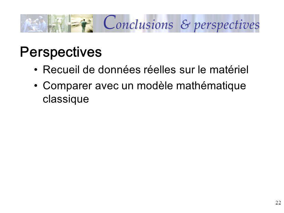 22 C onclusions & perspectives Perspectives Recueil de données réelles sur le matériel Comparer avec un modèle mathématique classique