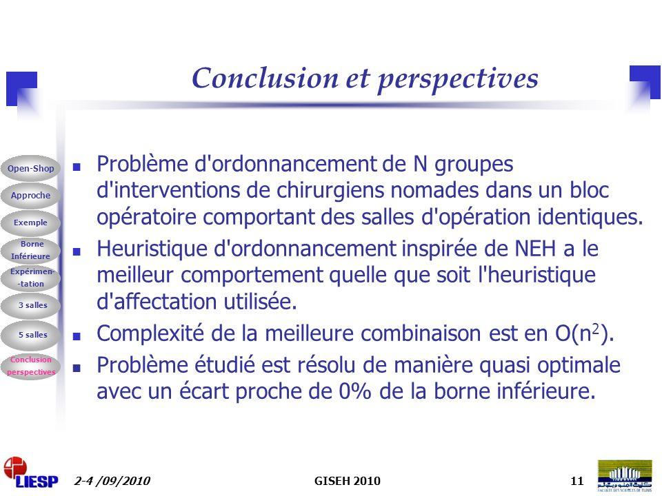 2-4 /09/2010GISEH 201011 Conclusion et perspectives Problème d ordonnancement de N groupes d interventions de chirurgiens nomades dans un bloc opératoire comportant des salles d opération identiques.