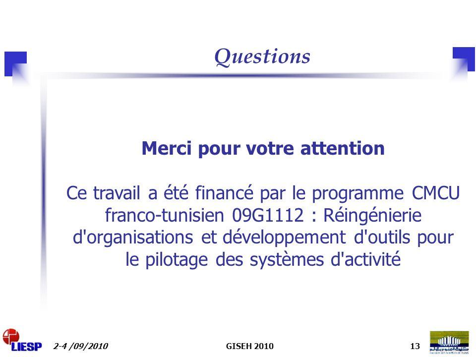 2-4 /09/2010GISEH 201013 Merci pour votre attention Ce travail a été financé par le programme CMCU franco-tunisien 09G1112 : Réingénierie d organisations et développement d outils pour le pilotage des systèmes d activité Questions