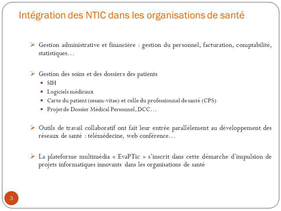 Intégration des NTIC dans les organisations de santé 3 Gestion administrative et financière : gestion du personnel, facturation, comptabilité, statist