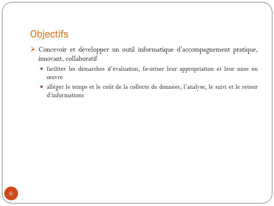 Objectifs 6 Concevoir et développer un outil informatique daccompagnement pratique, innovant, collaboratif faciliter les démarches dévaluation, favori