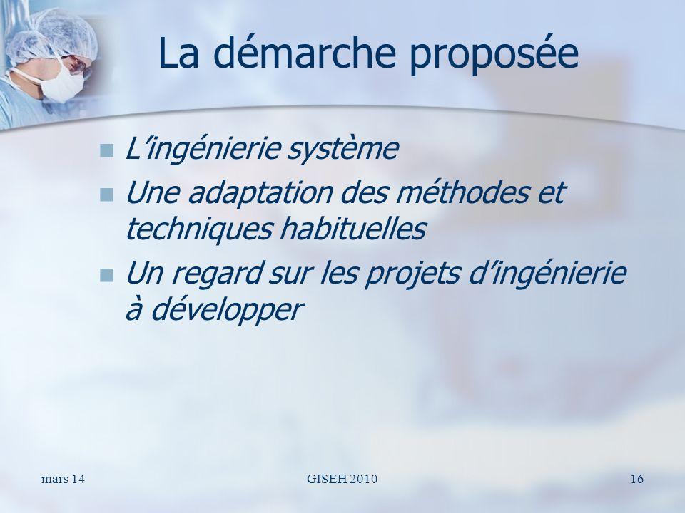 La démarche proposée Lingénierie système Une adaptation des méthodes et techniques habituelles Un regard sur les projets dingénierie à développer mars