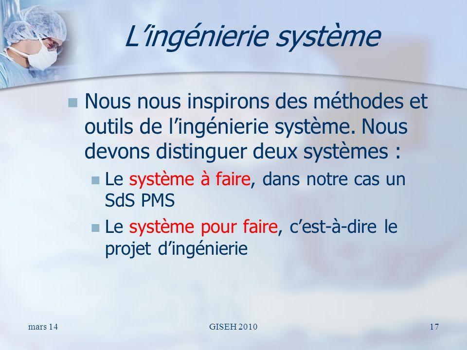 Lingénierie système Nous nous inspirons des méthodes et outils de lingénierie système. Nous devons distinguer deux systèmes : Le système à faire, dans