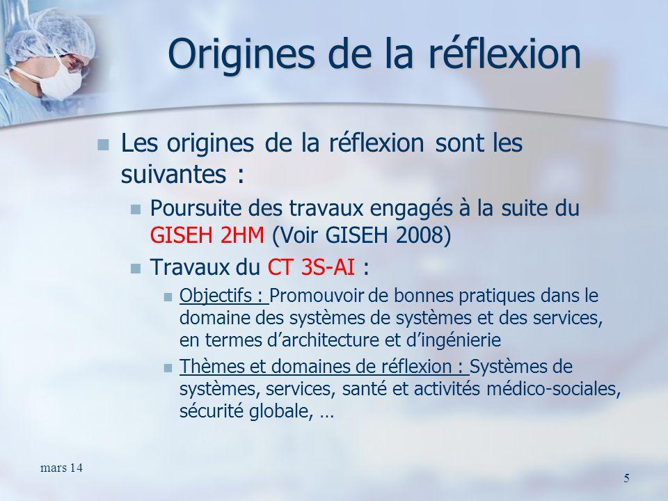 Origines de la réflexion Les origines de la réflexion sont les suivantes : Poursuite des travaux engagés à la suite du GISEH 2HM (Voir GISEH 2008) Tra