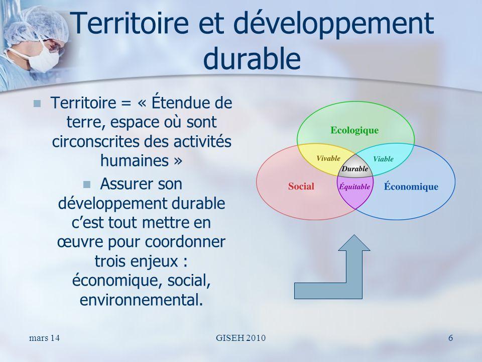 Territoire et développement durable Territoire = « Étendue de terre, espace où sont circonscrites des activités humaines » Assurer son développement durable cest tout mettre en œuvre pour coordonner trois enjeux : économique, social, environnemental.