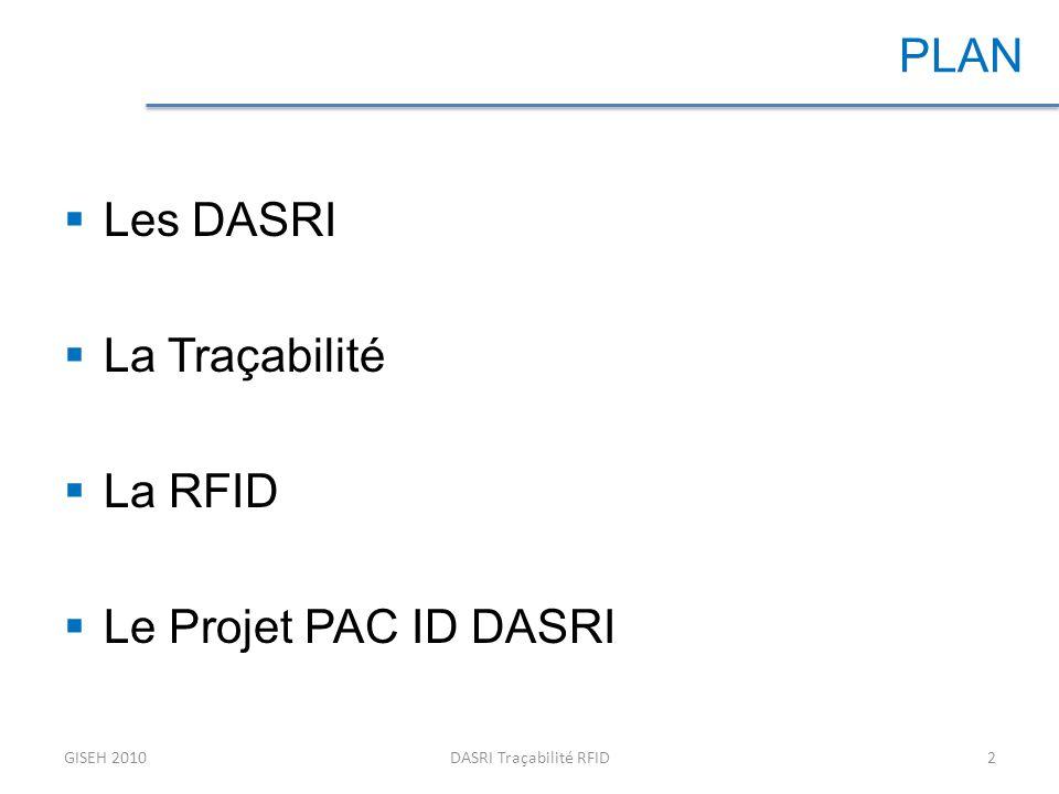 Les déchets: problématique au niveau de la société Les déchets dactivités de soins (DAS) : –Produits en petites quantités et de manière dispersée, –Risques sanitaires / santé publique –Risques environnementaux Les déchets dactivités de soins à risques infectieux (DASRI): –Piquants, coupants, tranchants GISEH 2010DASRI Traçabilité RFID3 DASRI