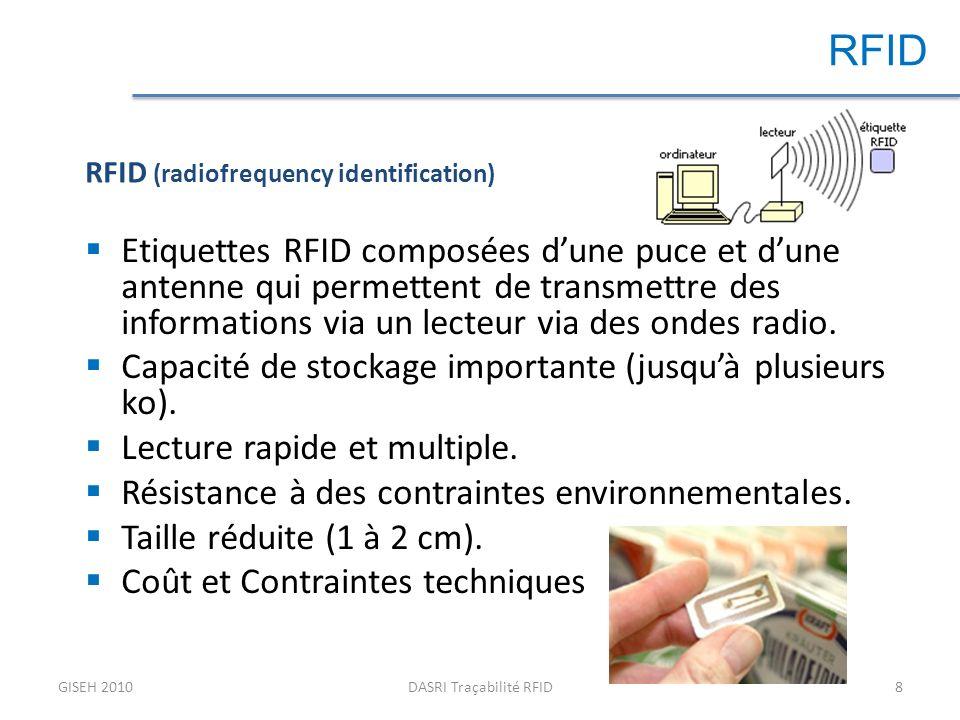 GISEH 2010DASRI Traçabilité RFID8 RFID Etiquettes RFID composées dune puce et dune antenne qui permettent de transmettre des informations via un lecteur via des ondes radio.