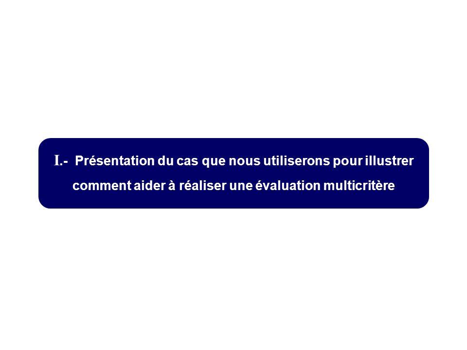 I.- Présentation du cas que nous utiliserons pour illustrer comment aider à réaliser une évaluation multicritère