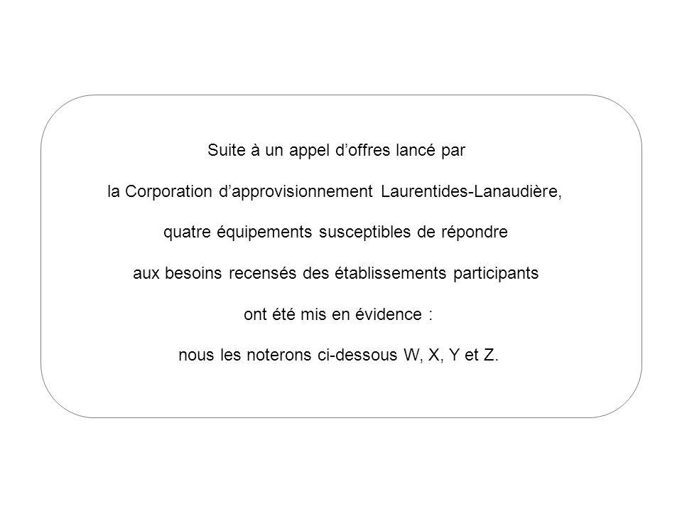Suite à un appel doffres lancé par la Corporation dapprovisionnement Laurentides-Lanaudière, quatre équipements susceptibles de répondre aux besoins recensés des établissements participants ont été mis en évidence : nous les noterons ci-dessous W, X, Y et Z.