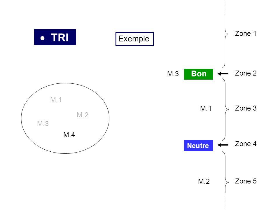 TRI M.1 M.2 M.3 M.4 M.3 M.1 M.2 Neutre Bon Zone 2 Zone 3 Zone 4 Zone 1 Zone 5 Exemple