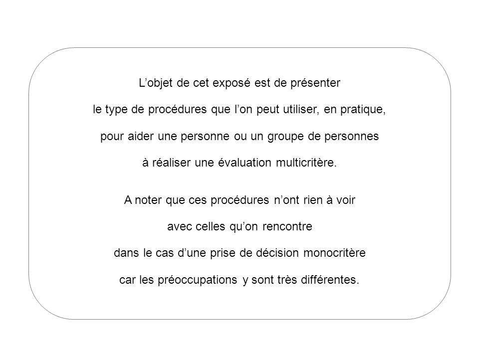 Lobjet de cet exposé est de présenter le type de procédures que lon peut utiliser, en pratique, pour aider une personne ou un groupe de personnes à réaliser une évaluation multicritère.