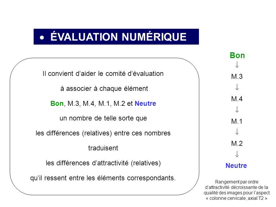 ÉVALUATION NUMÉRIQUE Neutre Bon M.3 M.4 M.1 M.2 Il convient daider le comité dévaluation à associer à chaque élément Bon, M.3, M.4, M.1, M.2 et Neutre un nombre de telle sorte que les différences (relatives) entre ces nombres traduisent les différences dattractivité (relatives) quil ressent entre les éléments correspondants.