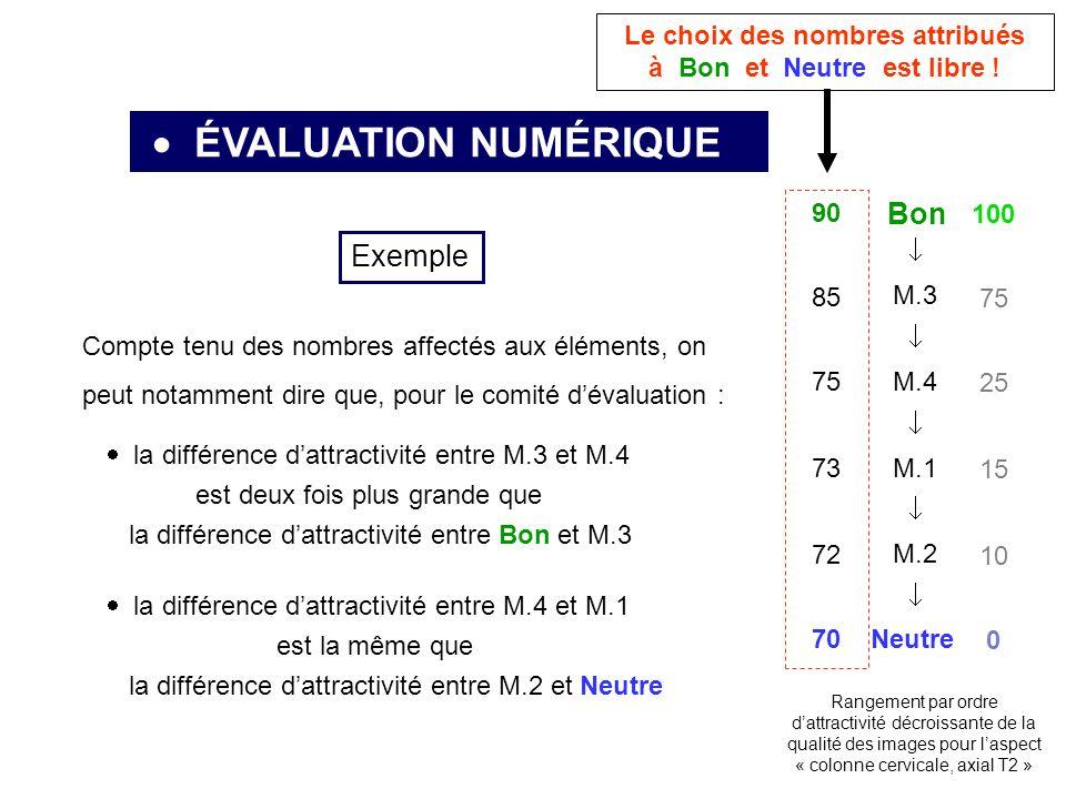 ÉVALUATION NUMÉRIQUE Neutre Bon M.3 M.4 M.1 M.2 Rangement par ordre dattractivité décroissante de la qualité des images pour laspect « colonne cervicale, axial T2 » Exemple Compte tenu des nombres affectés aux éléments, on peut notamment dire que, pour le comité dévaluation : la différence dattractivité entre M.3 et M.4 est deux fois plus grande que la différence dattractivité entre Bon et M.3 la différence dattractivité entre M.4 et M.1 est la même que la différence dattractivité entre M.2 et Neutre 100 0 75 25 15 10 90 70 85 75 73 72 Le choix des nombres attribués à Bon et Neutre est libre !