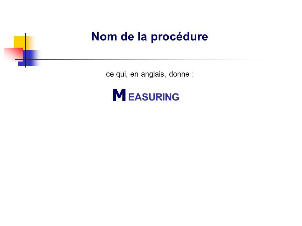 Nom de la procédure MACBETHMACBETH EASURING ce qui, en anglais, donne :