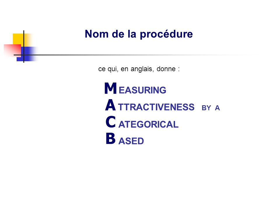 Nom de la procédure ASED MACBETHMACBETH EASURING ATEGORICAL TTRACTIVENESS BY A ce qui, en anglais, donne :