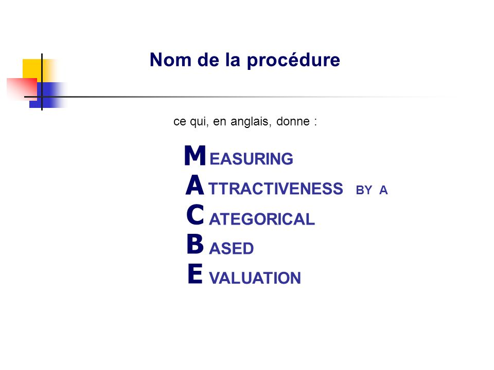 Nom de la procédure ASED VALUATION MACBETHMACBETH EASURING ATEGORICAL TTRACTIVENESS BY A ce qui, en anglais, donne :