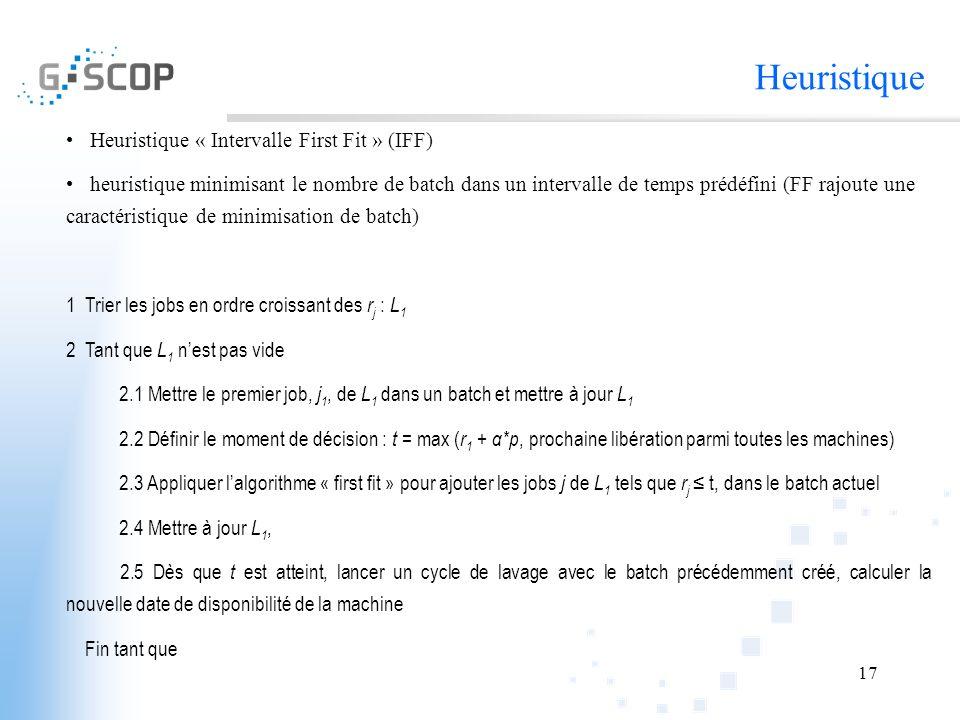 17 Heuristique Heuristique « Intervalle First Fit » (IFF) heuristique minimisant le nombre de batch dans un intervalle de temps prédéfini (FF rajoute