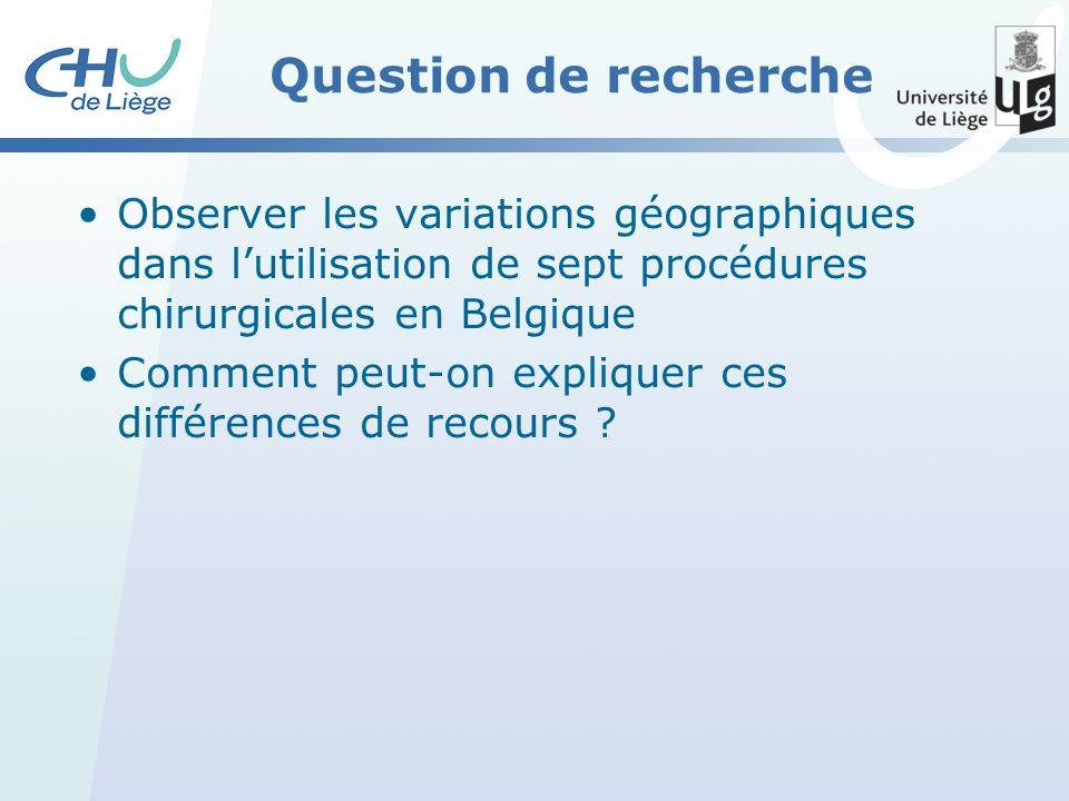 Question de recherche Observer les variations géographiques dans lutilisation de sept procédures chirurgicales en Belgique Comment peut-on expliquer ces différences de recours