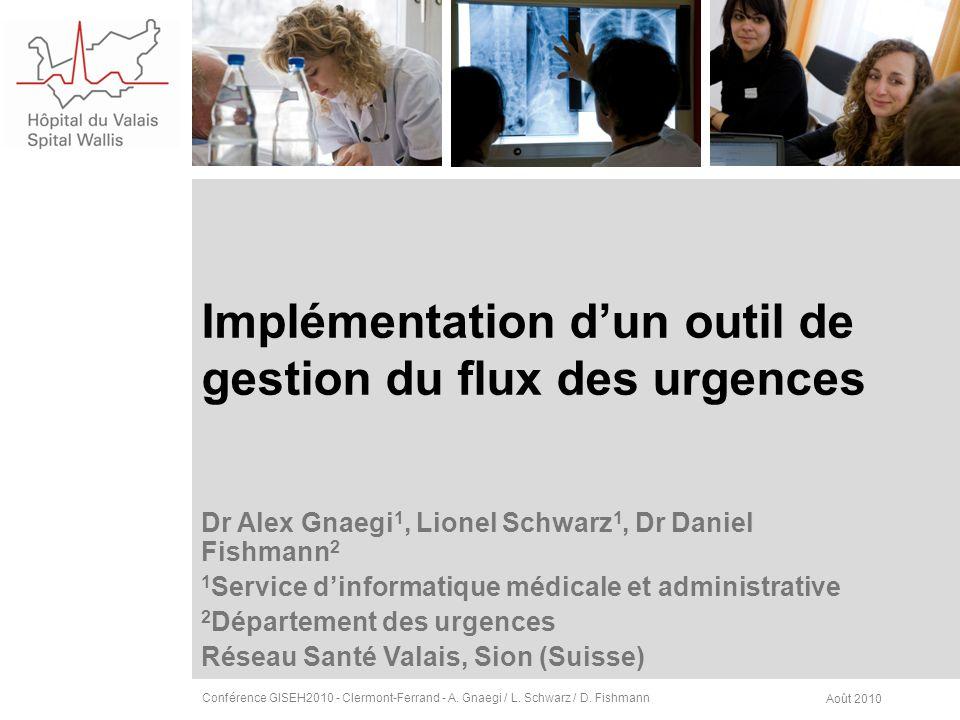 Implémentation dun outil de gestion du flux des urgences Dr Alex Gnaegi 1, Lionel Schwarz 1, Dr Daniel Fishmann 2 1 Service dinformatique médicale et