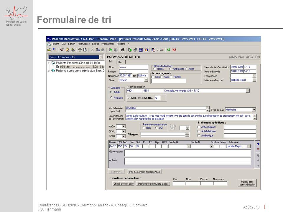 | Formulaire de tri Août 2010 Conférence GISEH2010 - Clermont-Ferrand - A. Gnaegi / L. Schwarz / D. Fishmann