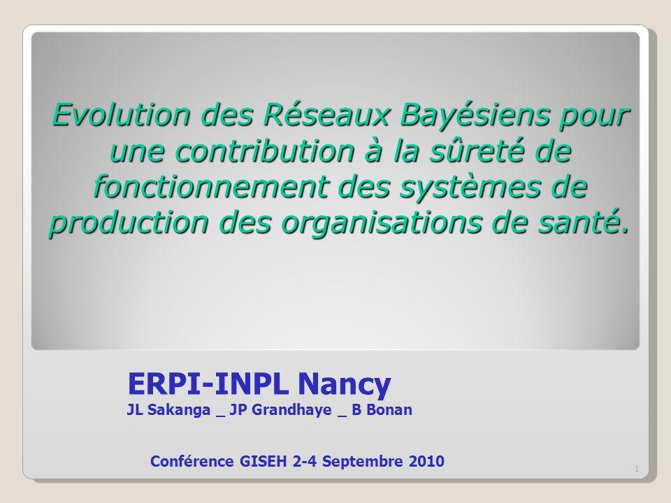 Evolution des Réseaux Bayésiens pour une contribution à la sûreté de fonctionnement des systèmes de production des organisations de santé. ERPI-INPL N