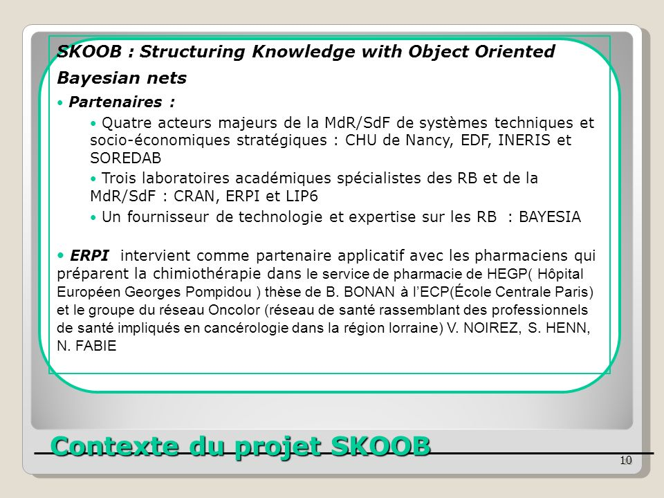 Contexte du projet SKOOB Contexte du projet SKOOB 10 SKOOB : Structuring Knowledge with Object Oriented Bayesian nets Partenaires : Quatre acteurs maj