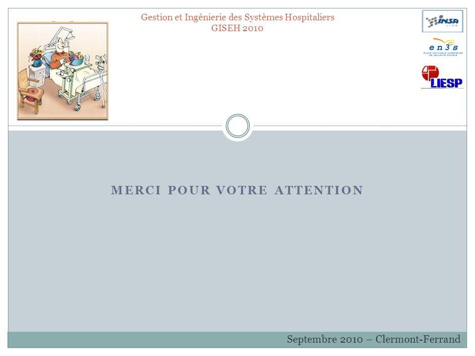 MERCI POUR VOTRE ATTENTION Gestion et Ingénierie des Systèmes Hospitaliers GISEH 2010 Septembre 2010 – Clermont-Ferrand