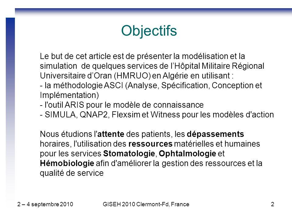 2 – 4 septembre 2010GISEH 2010 Clermont-Fd, France2 Le but de cet article est de présenter la modélisation et la simulation de quelques services de lHôpital Militaire Régional Universitaire dOran (HMRUO) en Algérie en utilisant : - la méthodologie ASCI (Analyse, Spécification, Conception et Implémentation) - l outil ARIS pour le modèle de connaissance - SIMULA, QNAP2, Flexsim et Witness pour les modèles d action Nous étudions l attente des patients, les dépassements horaires, l utilisation des ressources matérielles et humaines pour les services Stomatologie, Ophtalmologie et Hémobiologie afin d améliorer la gestion des ressources et la qualité de service Objectifs