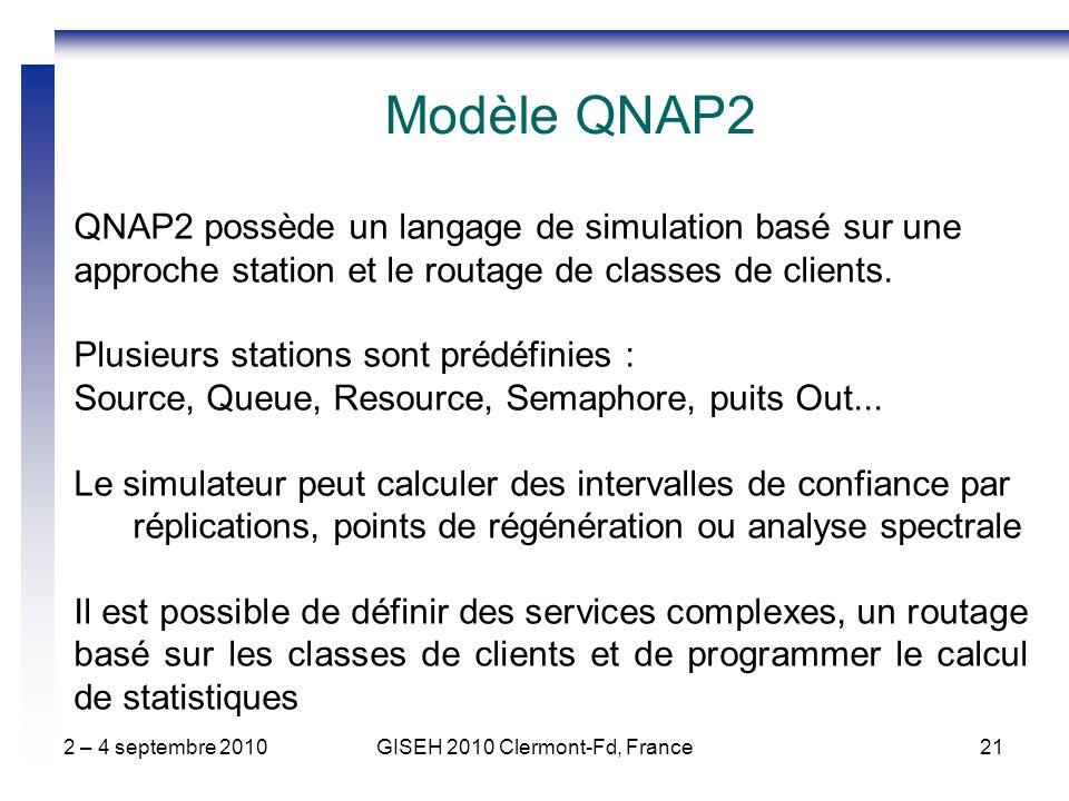 2 – 4 septembre 2010GISEH 2010 Clermont-Fd, France21 QNAP2 possède un langage de simulation basé sur une approche station et le routage de classes de clients.