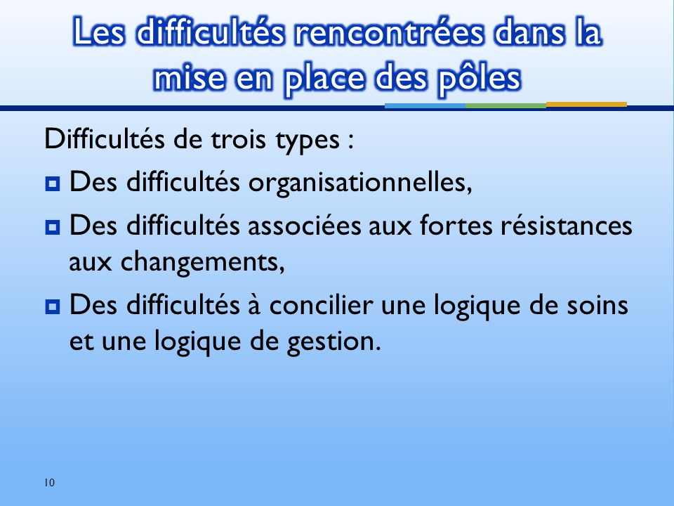 Difficultés de trois types : Des difficultés organisationnelles, Des difficultés associées aux fortes résistances aux changements, Des difficultés à c