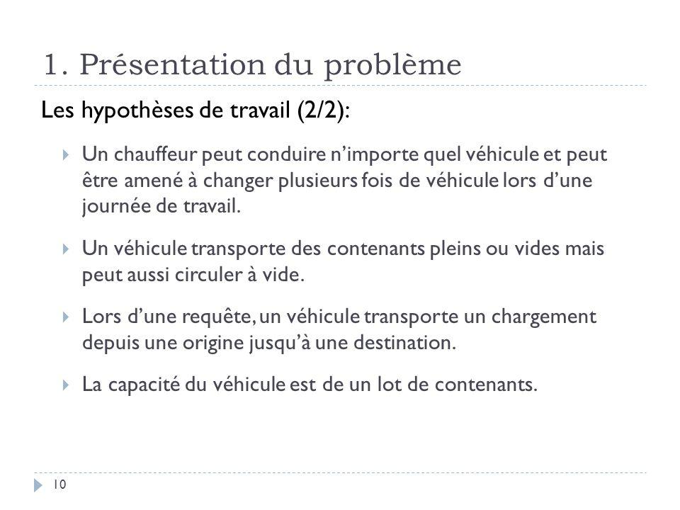 1. Présentation du problème 10 Les hypothèses de travail (2/2): Un chauffeur peut conduire nimporte quel véhicule et peut être amené à changer plusieu