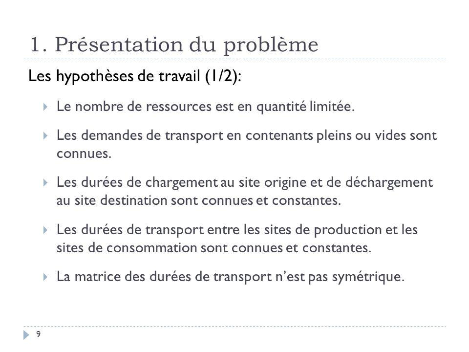 1. Présentation du problème 9 Les hypothèses de travail (1/2): Le nombre de ressources est en quantité limitée. Les demandes de transport en contenant