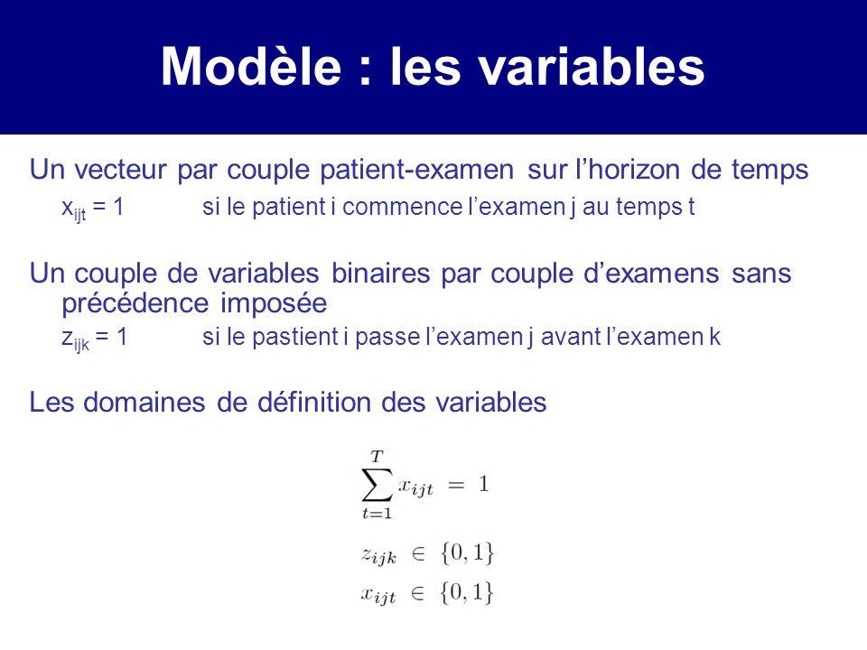 Modèle : les variables Un vecteur par couple patient-examen sur lhorizon de temps x ijt = 1si le patient i commence lexamen j au temps t Un couple de