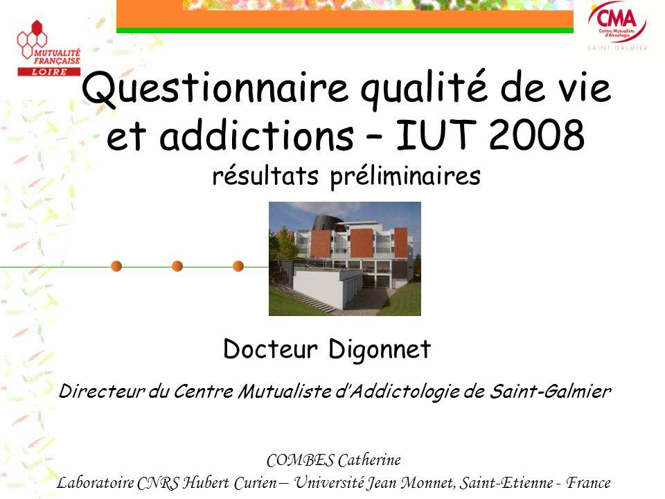 Questionnaire qualité de vie et addictions – IUT 2008 résultats préliminaires Docteur Digonnet Directeur du Centre Mutualiste dAddictologie de Saint-G
