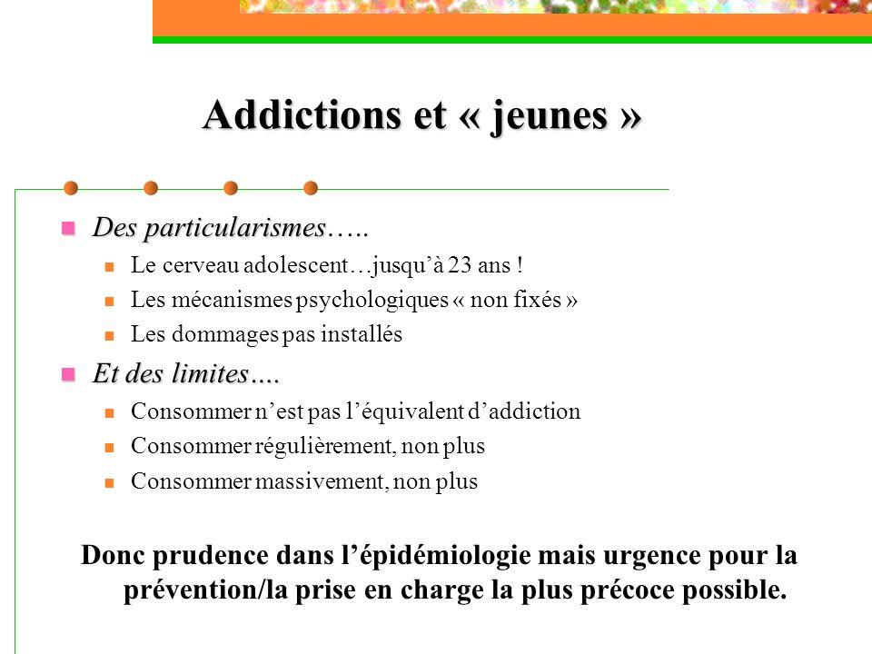 Addictions et « jeunes » Des particularismes Des particularismes….. Le cerveau adolescent…jusquà 23 ans ! Les mécanismes psychologiques « non fixés »