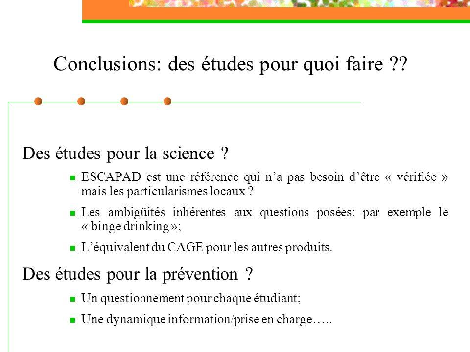 Conclusions: des études pour quoi faire ?? Des études pour la science ? ESCAPAD est une référence qui na pas besoin dêtre « vérifiée » mais les partic