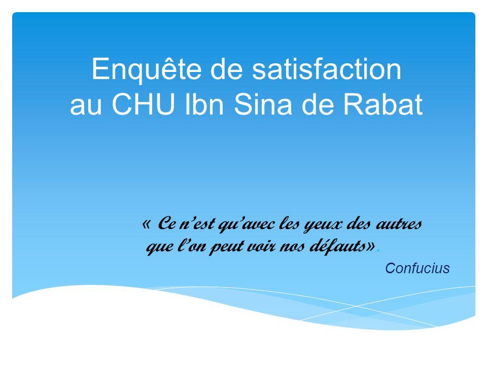 Enquête de satisfaction au CHU Ibn Sina de Rabat « Ce nest quavec les yeux des autres que lon peut voir nos défauts ». Confucius