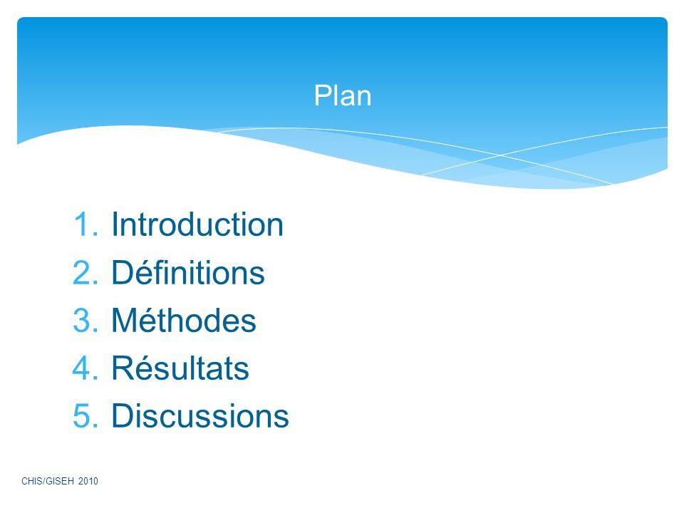 1.Introduction 2.Définitions 3.Méthodes 4.Résultats 5.Discussions Plan CHIS/GISEH 2010