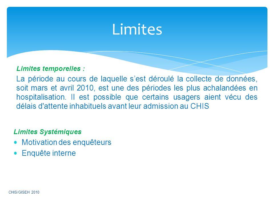 Limites temporelles : La période au cours de laquelle sest déroulé la collecte de données, soit mars et avril 2010, est une des périodes les plus acha